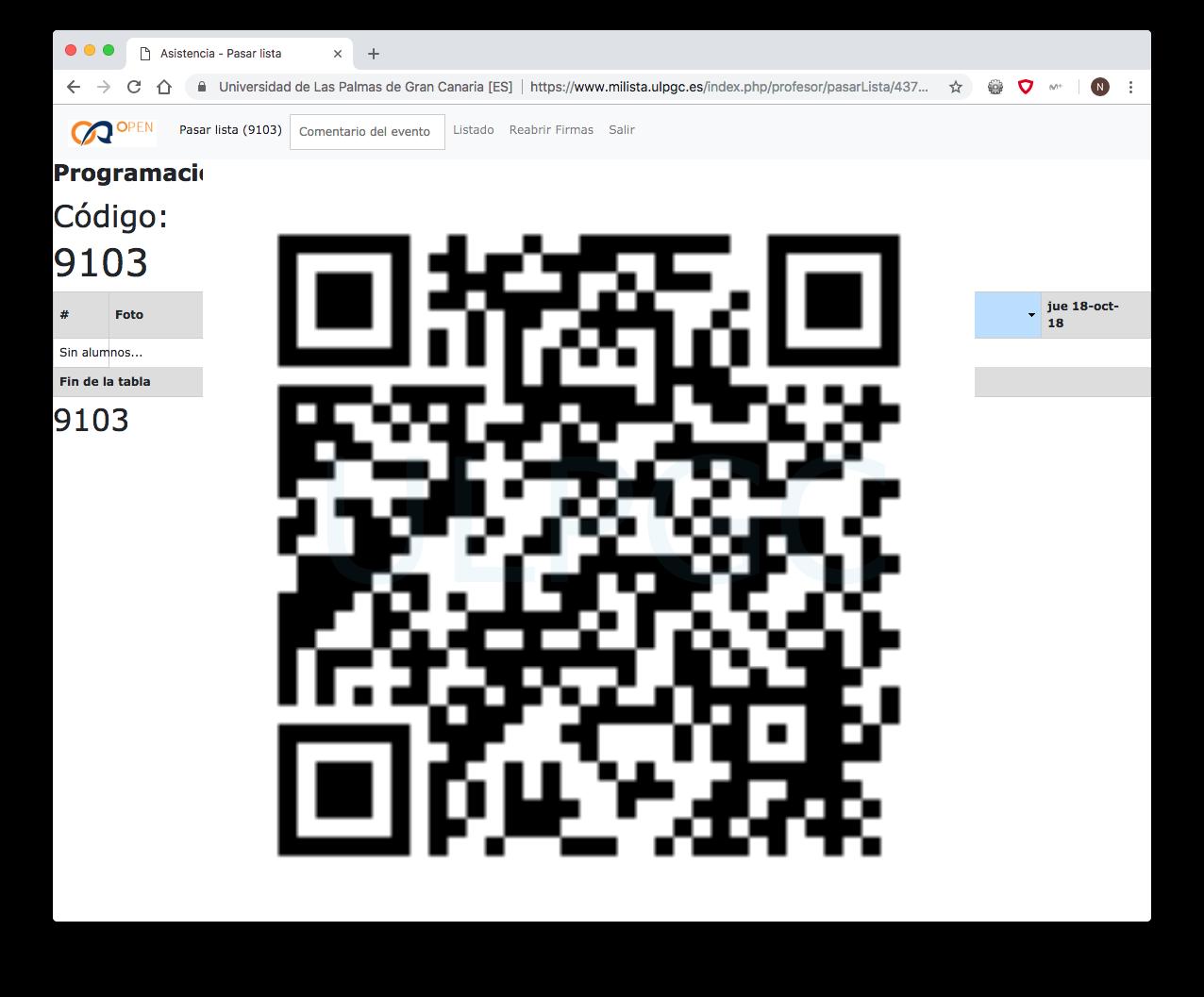 Código QR para escanear y firmar la asistencia como asistente